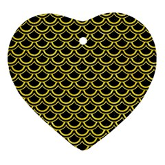 Scales2 Black Marble & Gold Glitterscales2 Black Marble & Gold Glitter Heart Ornament (two Sides)