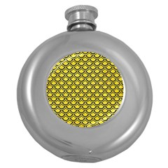 Scales2 Black Marble & Gold Glitter (r) Round Hip Flask (5 Oz)