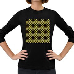 Scales3 Black Marble & Gold Glitter Women s Long Sleeve Dark T Shirts