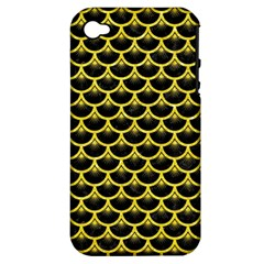 Scales3 Black Marble & Gold Glitter Apple Iphone 4/4s Hardshell Case (pc+silicone)