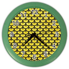 Scales3 Black Marble & Gold Glitter (r) Color Wall Clocks