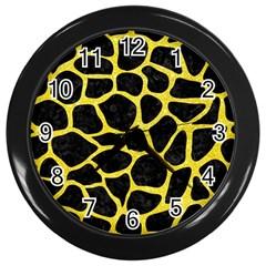 Skin1 Black Marble & Gold Glitter (r) Wall Clocks (black)