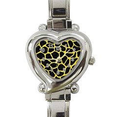 Skin1 Black Marble & Gold Glitter (r) Heart Italian Charm Watch
