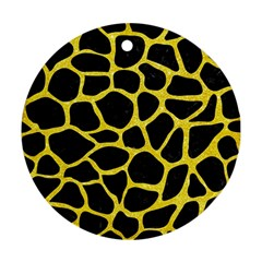 Skin1 Black Marble & Gold Glitter (r) Round Ornament (two Sides)