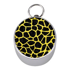 Skin1 Black Marble & Gold Glitter (r) Mini Silver Compasses