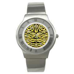Skin2 Black Marble & Gold Glitter (r) Stainless Steel Watch