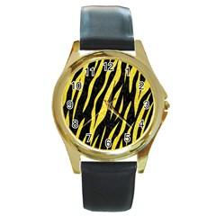 Skin3 Black Marble & Gold Glitter Round Gold Metal Watch