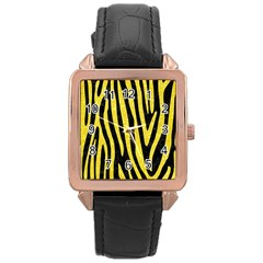 Skin4 Black Marble & Gold Glitter (r) Rose Gold Leather Watch