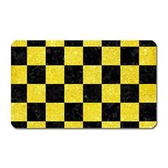 Square1 Black Marble & Gold Glitter Magnet (rectangular)