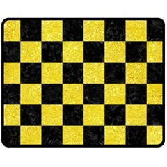 Square1 Black Marble & Gold Glitter Fleece Blanket (medium)
