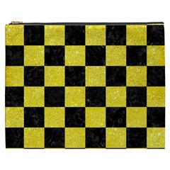 Square1 Black Marble & Gold Glitter Cosmetic Bag (xxxl)