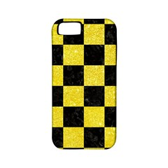 Square1 Black Marble & Gold Glitter Apple Iphone 5 Classic Hardshell Case (pc+silicone)