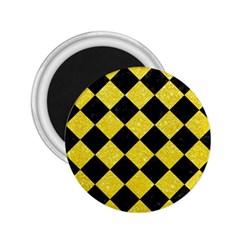 Square2 Black Marble & Gold Glitter 2 25  Magnets