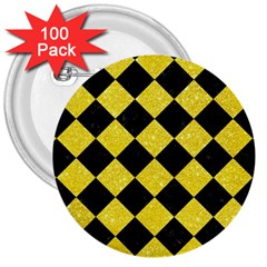 Square2 Black Marble & Gold Glitter 3  Buttons (100 Pack)