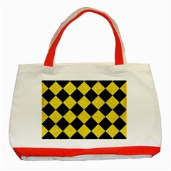 Square2 Black Marble & Gold Glitter Classic Tote Bag (red)