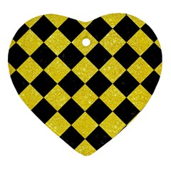 Square2 Black Marble & Gold Glitter Heart Ornament (two Sides)