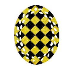 Square2 Black Marble & Gold Glitter Oval Filigree Ornament (two Sides)