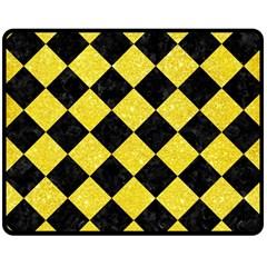 Square2 Black Marble & Gold Glitter Double Sided Fleece Blanket (medium)