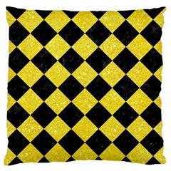 Square2 Black Marble & Gold Glitter Standard Flano Cushion Case (two Sides)