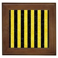 Stripes1 Black Marble & Gold Glitter Framed Tiles