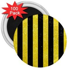 Stripes1 Black Marble & Gold Glitter 3  Magnets (100 Pack)