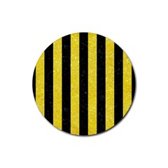 Stripes1 Black Marble & Gold Glitter Rubber Round Coaster (4 Pack)