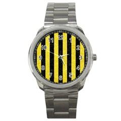 Stripes1 Black Marble & Gold Glitter Sport Metal Watch