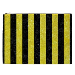 Stripes1 Black Marble & Gold Glitter Cosmetic Bag (xxl)