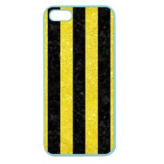 Stripes1 Black Marble & Gold Glitter Apple Seamless Iphone 5 Case (color)