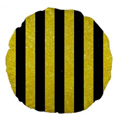Stripes1 Black Marble & Gold Glitter Large 18  Premium Round Cushions