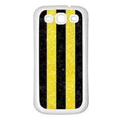 Stripes1 Black Marble & Gold Glitter Samsung Galaxy S3 Back Case (white)