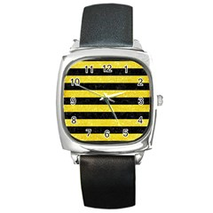 Stripes2 Black Marble & Gold Glitter Square Metal Watch