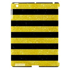 Stripes2 Black Marble & Gold Glitter Apple Ipad 3/4 Hardshell Case (compatible With Smart Cover)