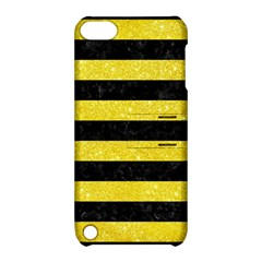 Stripes2 Black Marble & Gold Glitter Apple Ipod Touch 5 Hardshell Case With Stand