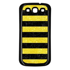 Stripes2 Black Marble & Gold Glitter Samsung Galaxy S3 Back Case (black)