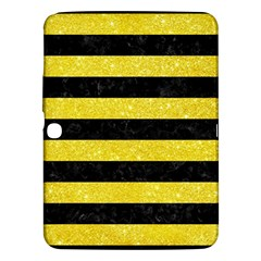 Stripes2 Black Marble & Gold Glitter Samsung Galaxy Tab 3 (10 1 ) P5200 Hardshell Case