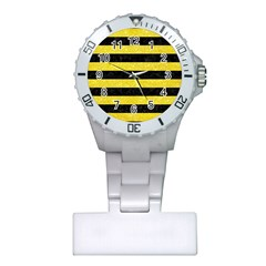 Stripes2 Black Marble & Gold Glitter Plastic Nurses Watch