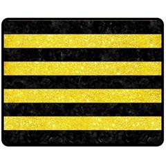 Stripes2 Black Marble & Gold Glitter Double Sided Fleece Blanket (medium)