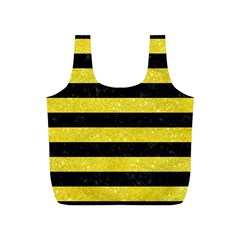 Stripes2 Black Marble & Gold Glitter Full Print Recycle Bags (s)