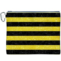 Stripes2 Black Marble & Gold Glitter Canvas Cosmetic Bag (xxxl)