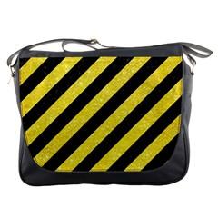 Stripes3 Black Marble & Gold Glitter Messenger Bags
