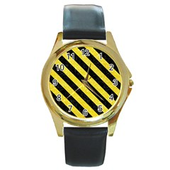 Stripes3 Black Marble & Gold Glitter (r) Round Gold Metal Watch