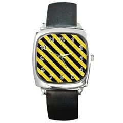 Stripes3 Black Marble & Gold Glitter (r) Square Metal Watch