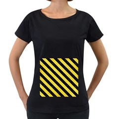 Stripes3 Black Marble & Gold Glitter (r) Women s Loose Fit T Shirt (black)