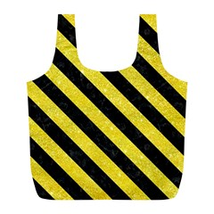 Stripes3 Black Marble & Gold Glitter (r) Full Print Recycle Bags (l)