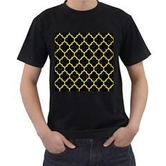 Tile1 Black Marble & Gold Glitter Men s T Shirt (black) (two Sided)