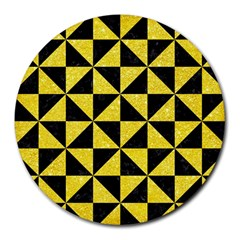 Triangle1 Black Marble & Gold Glitter Round Mousepads