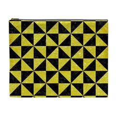 Triangle1 Black Marble & Gold Glitter Cosmetic Bag (xl)