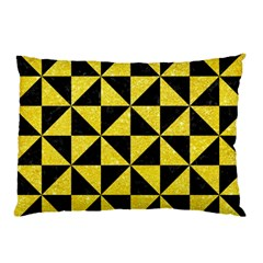 Triangle1 Black Marble & Gold Glitter Pillow Case (two Sides)