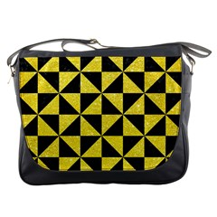 Triangle1 Black Marble & Gold Glitter Messenger Bags